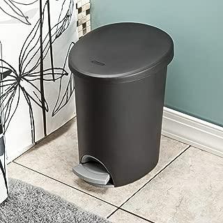 product image for Sterilite 10819002 2.6 Gallon/9.8 Liter Ultra StepOn Wastebasket, Black Lid & Base w/ Titanium Pedal & Liner, 2-Pack