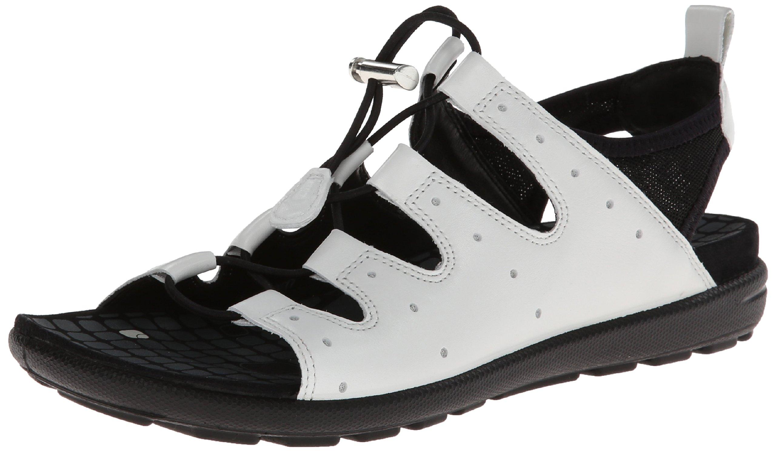 Ecco Footwear Womens Jab Toggle Gladiator Sandal, White/Black, 38 EU/7-7.5 M US