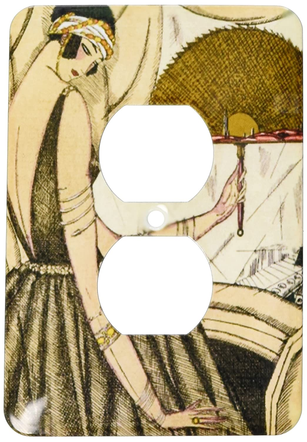 2 Plug Outlet Cover 3dRose lsp/_174638/_6 image of lady in tan dress with brown fan art deco style