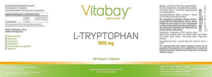 L-Triptófano - 500 mg - 120 cápsulas: Amazon.es: Salud y cuidado personal