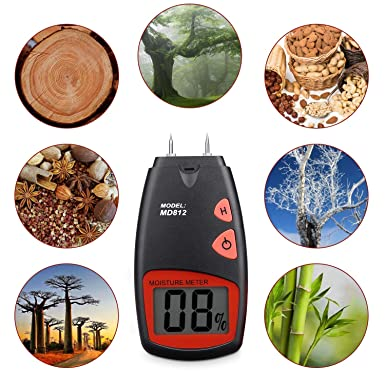 Digital Wood Moisture Meter – Tiaoyeer Handheld LCD Moisture Tester Damp Moisture Tester Detector with 2 Spare Sensor Pins and one 9V Battery Both Included Range 5 – 40 , Accuracy -1 , MD812