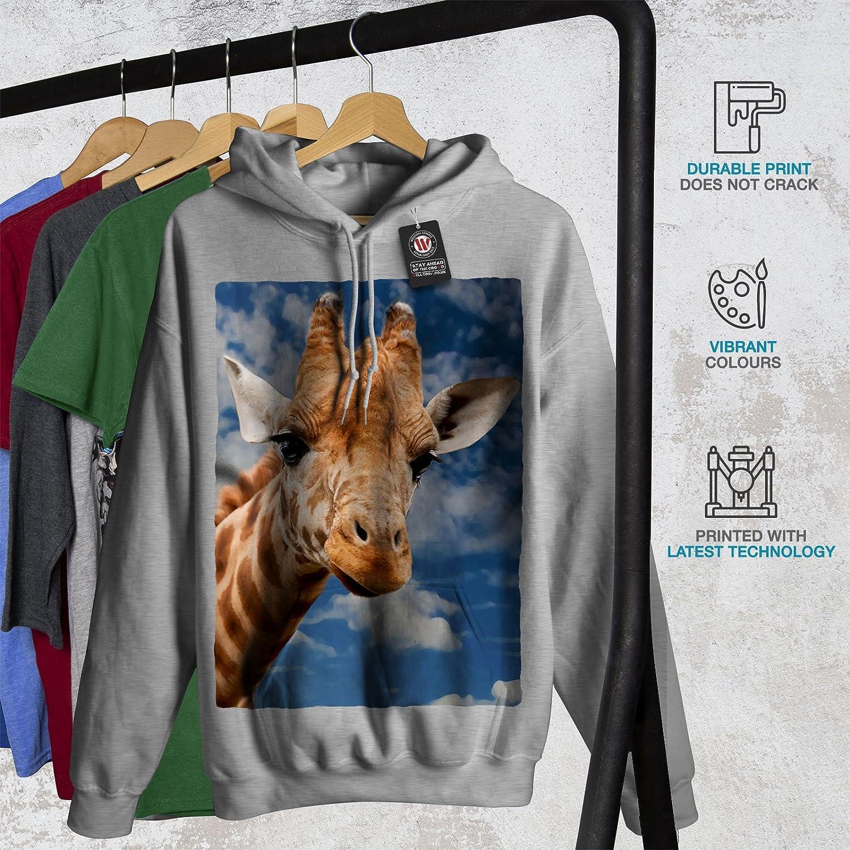 wellcoda Giraffe Sky Wild Animal Mens Hoodie Blue Hooded Sweatshirt