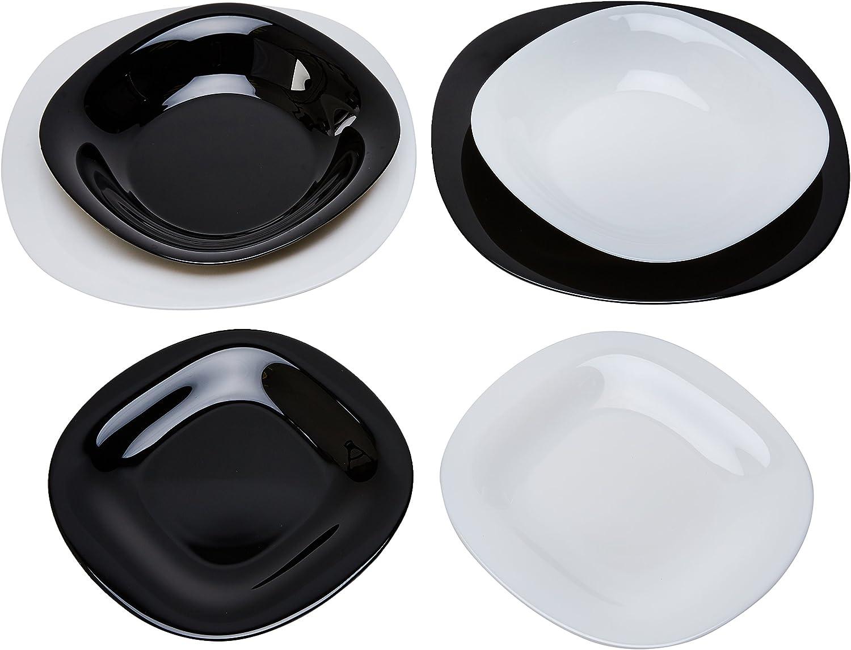 Servizio Piatti Per 6 Persone 18 Pezzi Luminarc Opale Carine Bianco E Nero