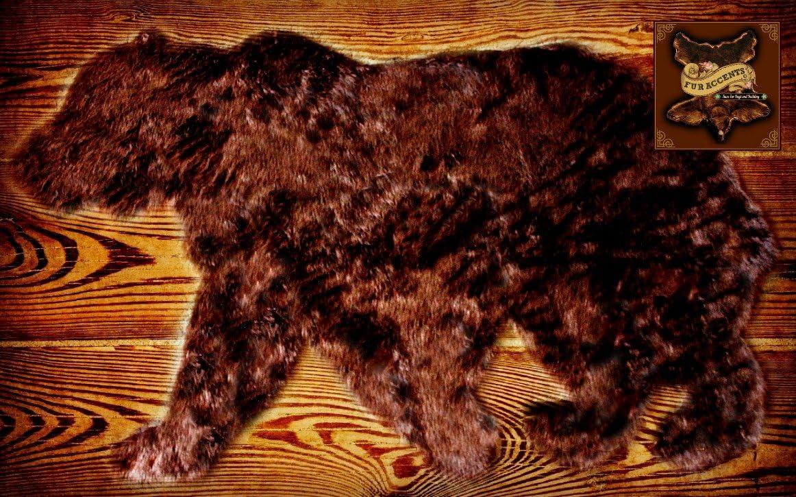 Fur Accents Faux Fur Bear Rug Area Rug Walking Bear Grizzly Bear Brown