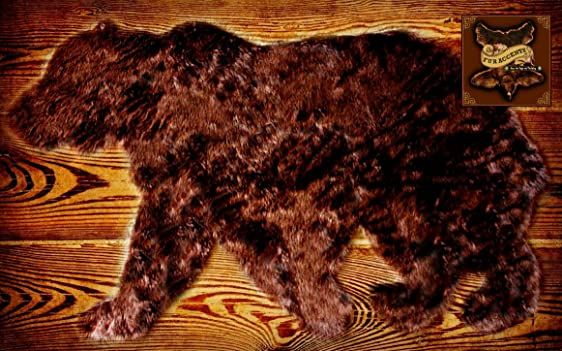 Fur Accents Faux Fur Bear Rug Area Rug Walking Bear Grizzly Bear Brown