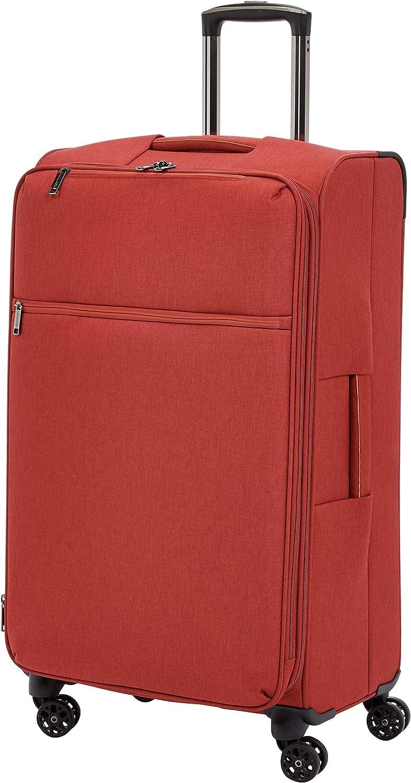 AmazonBasics – Maleta con ruedas flexible acolchada Belltown, 78 cm, Rojo