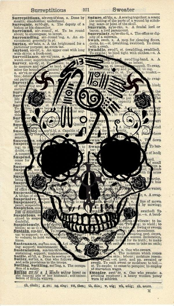 MEXICAN TATOOED SKULL ART PRINT - VINTAGE ART PRINT - Gothic Art Print - Illustration - Vintage Dictionary Art Print - Wall Hanging - Home Décor - Housewares - Book Print - WALL ART - Halloween Art Print - 240B Vintage Reflectionz