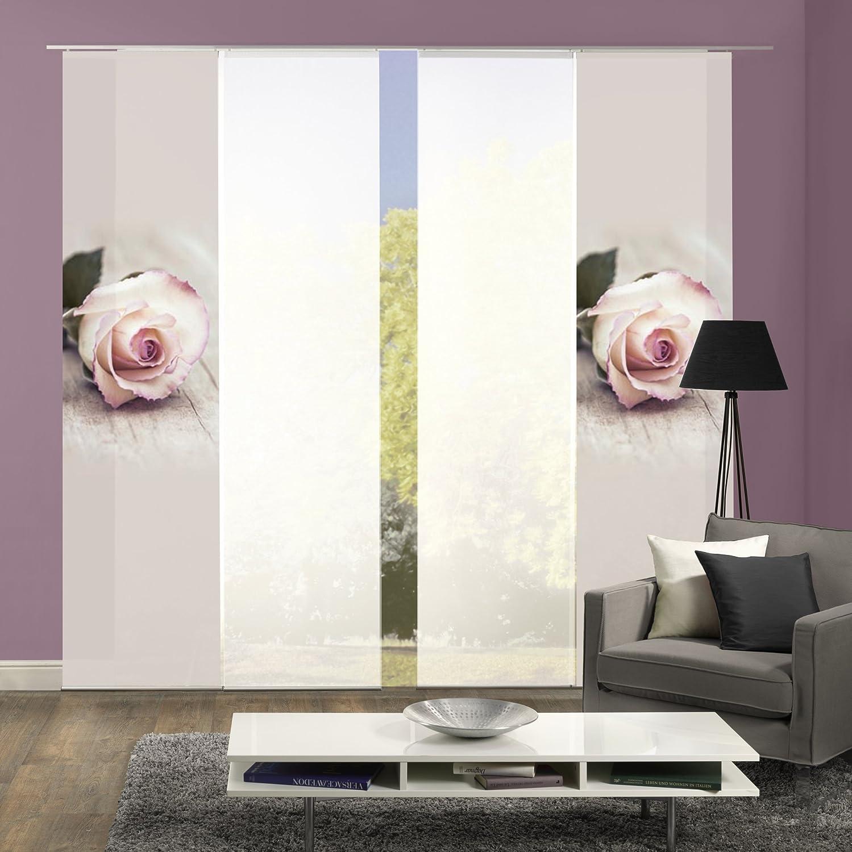 Wohnfuehlidee 4er-Set Flächenvorhang, Deko blickdicht, LUCIA, Höhe 245 cm, 2x Dessin rose 2x uni weiß transparent