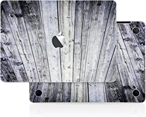 Aged Gray Wood Texture Skin Decal (4-in-1) Full-Size 360° Protector Cover Apple MacBook Pro 13 Inch A1706 A1708 A1989 (2016 to 2019 Model,with & w/o Touch Bar & ID) Black Keyboard
