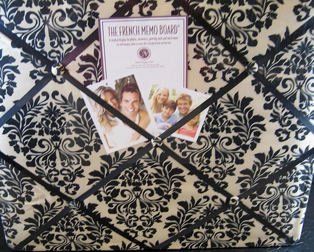 The French Memo Board-a Creative Display for Photos, Mementos, Greeting Cards and Much More-Contemporary -Black and Cream Damask- Factory Sealed by The French Memo Board (Image #1)