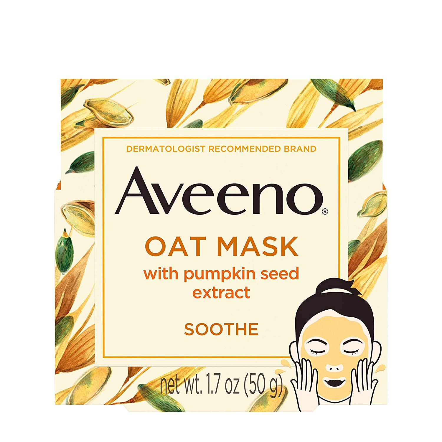 Aveeno Oat Face Mask, Soothing Pumpkin Seed Extract and Feverfew Extract, 1.7 Ounce