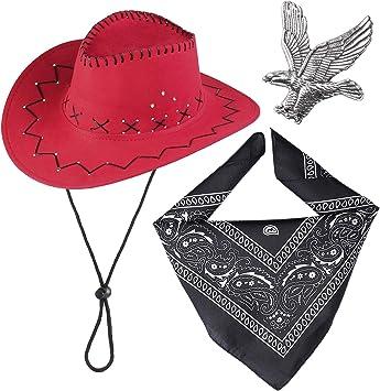 BANDANA Rosso 55cm Wild West Cowboy accessorio costume