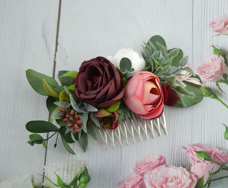m burgundy and ivory wedding hair piece burgundy hair accessories floral hair vine bridal headpiece deep red and peach flower hair clip