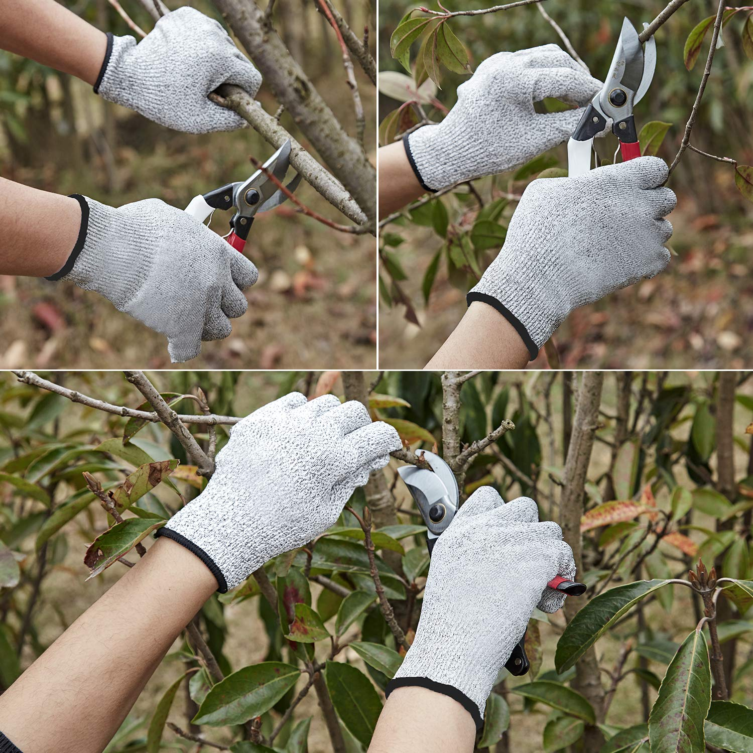Grey 2 Pairs Anti-Cutting Durable and Safety Working Glove for Woodworking Sawing and Carving Cut Resistant Gloves for Kitchen Cutting Slicing Work High Performance Level 5 Safe Protection