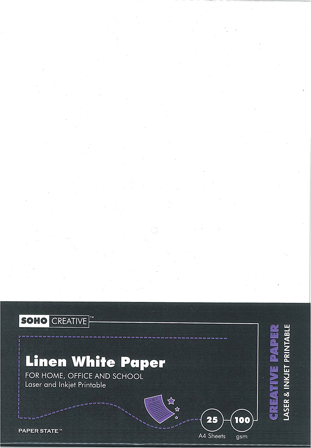 pack Of 25 Sheets White Soho Creative A4 100 Gsm Linen Paper - Pack Sheets