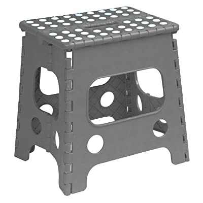 Superior Performance Folding Step Stool 15 Inch with Anti Slip Dots (Grey) Space Saving Stool with a Built in Handle for Easy Carry Sturdy Step Stool: Kitchen & Dining