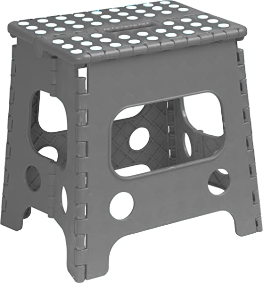 Amazon Com Superior Performance Folding Step Stool 15 Inch With Anti Slip Dots Grey Space Saving Stool With A Built In Handle For Easy Carry Sturdy Step Stool Furniture Decor