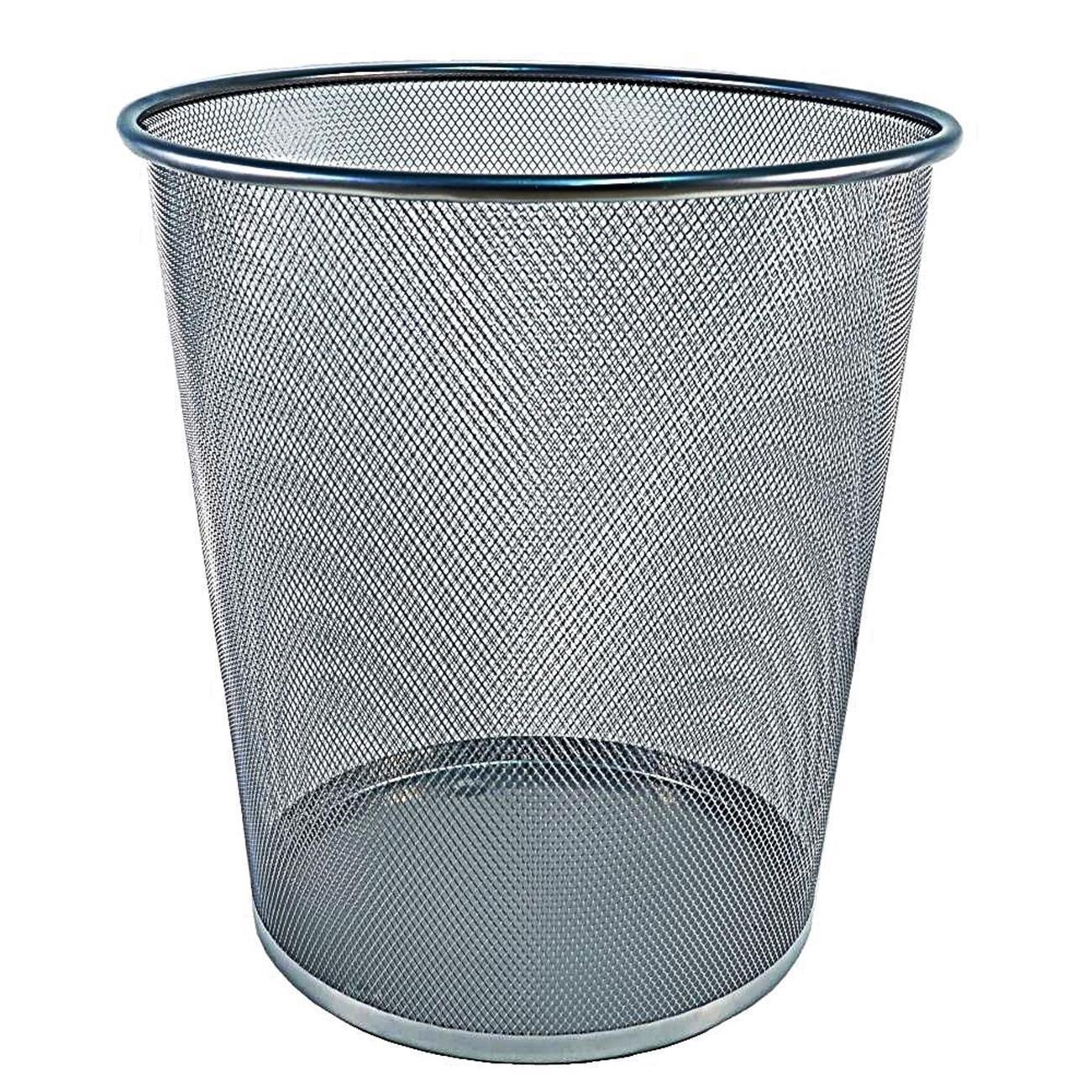 Robuster M/ülleimer aus Draht-Metall Sch/öner Papierkorb in Silber f/ür ca 19,5 Liter