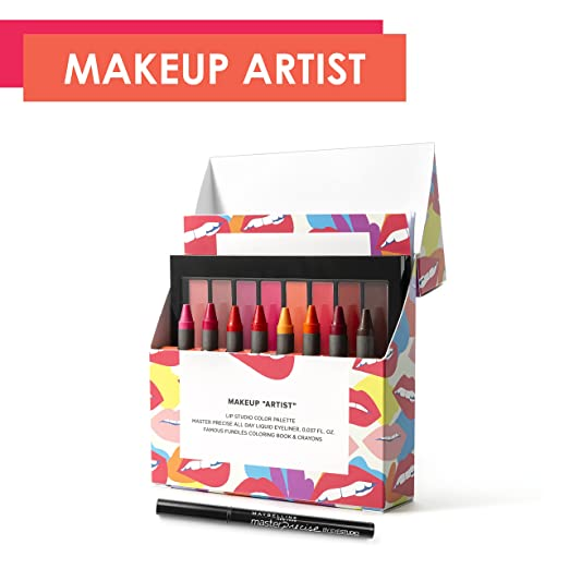 Maybelline New York Limited-Edition Fundles Makeup Artist with Lip Studio, Eyestudio Master Precise All Day Liquid Eyeliner, Famous Fundles Adult Coloring Book and Color Palette Crayons