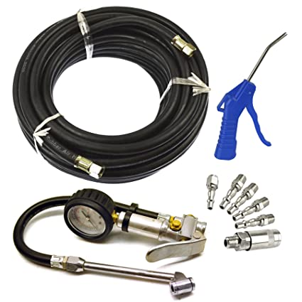 Línea de aire/manguera con Inflador neumático / Rueda, Pistola de aire y kit