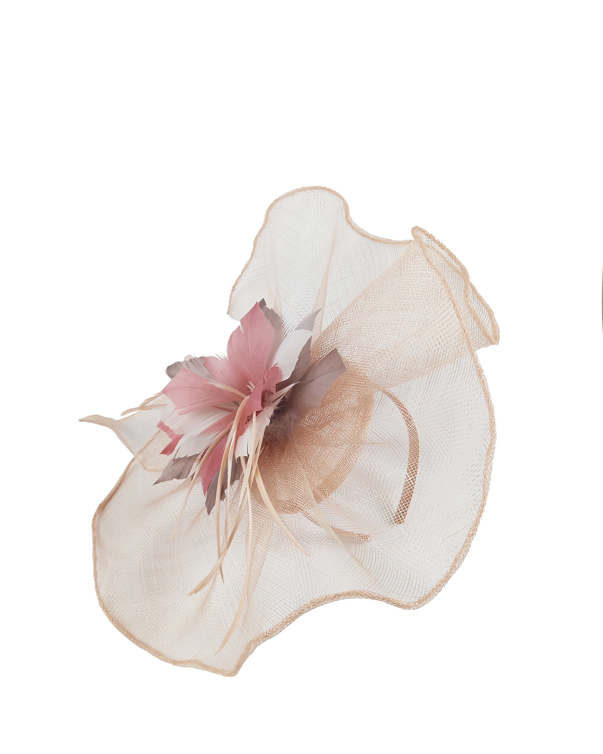 High-Fashion Women Sinamay Fascinator Headband Clip Head Piece for Tea Party Racing Debery Church Wedding Special Occasions(Salmon Pink)