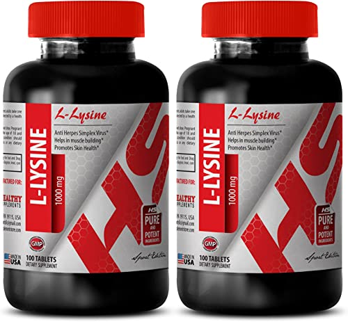 Organic lysine Natural – L-LYSINE Supplement 1000 MG – for Immune System 2 Bottles