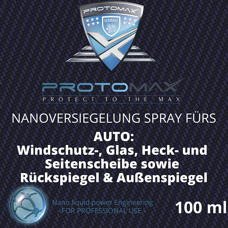 PROTOMAX Nanoversiegelung-Spray fü rs Auto: Windschutzscheibe, Glasscheibe, Heckscheibe, Seitenscheibe, Rü ckspiegel, Auß enspiegel (100 ml)