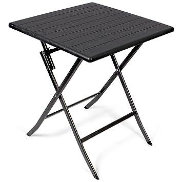 Vanage - Table d\'appoint - Table de Jardin carrée avec Effets bois ...