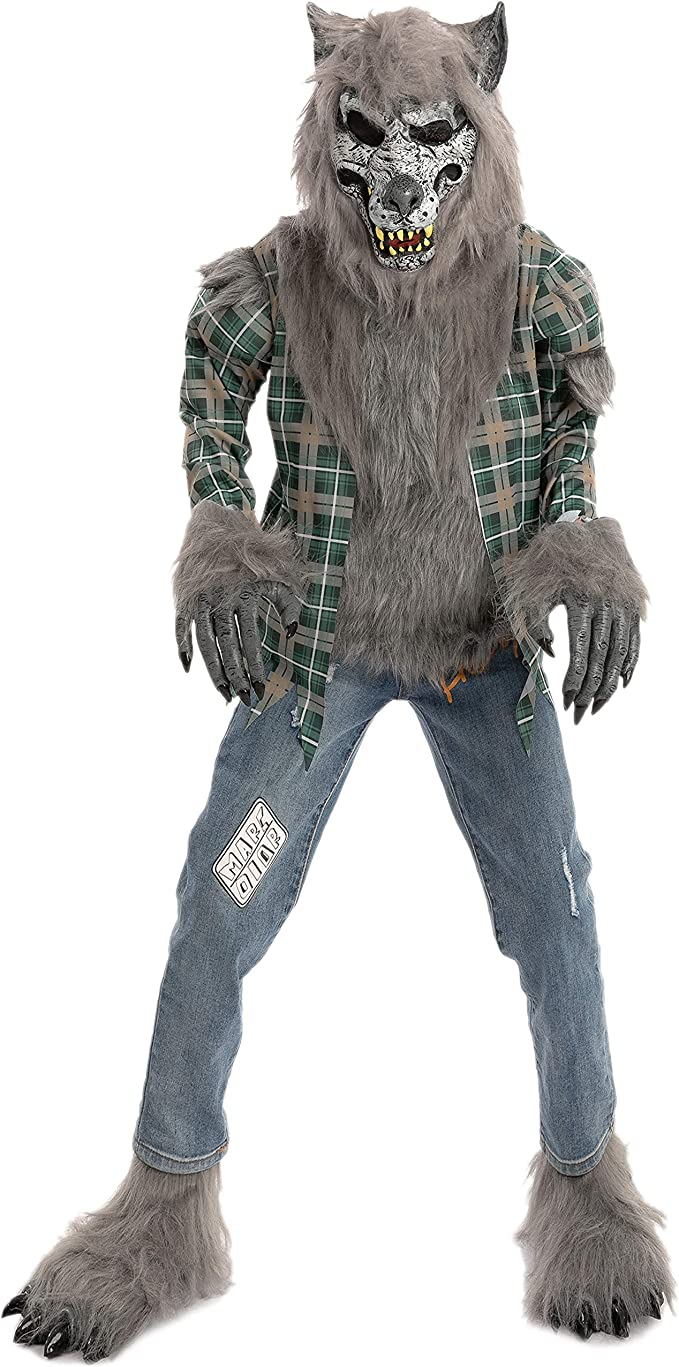 Amazon.com: Child Unisex Green Werewolf Costume with Mask, Gloves and Shoes Cover: Clothing