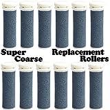The Pedi Store SUPER Coarse Micro Mineral Replacement Rollers Compatible with Emjoi Micro-Pedi Callous Remover for Rough and Tough Calluses (12 pack)