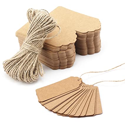 Gift Tags 200 PCS Segarty Personalized Custom Kraft Paper Favor With String Free