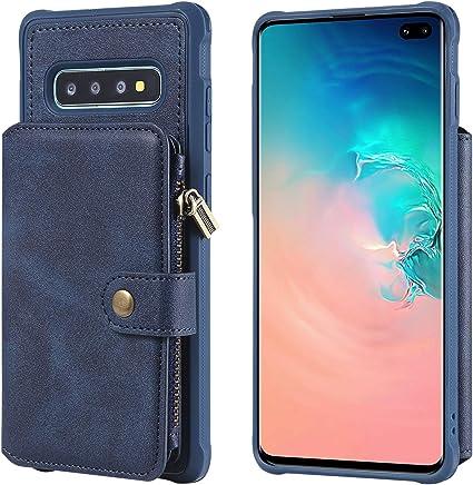 ANNNWZZD Nuevo Samsung Galaxy S10Plus Estuche para teléfono con Cremallera Antideslizante móvil Funda Cartera de Tarjeta de crédito Azul: Amazon.es: Electrónica
