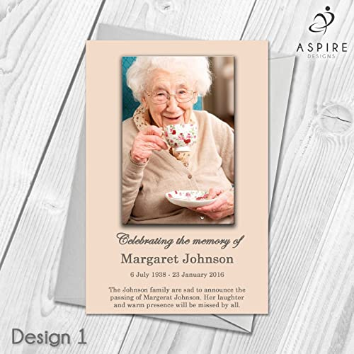 Funeral Invitation Cards Personalised Memorial Announcement Cards