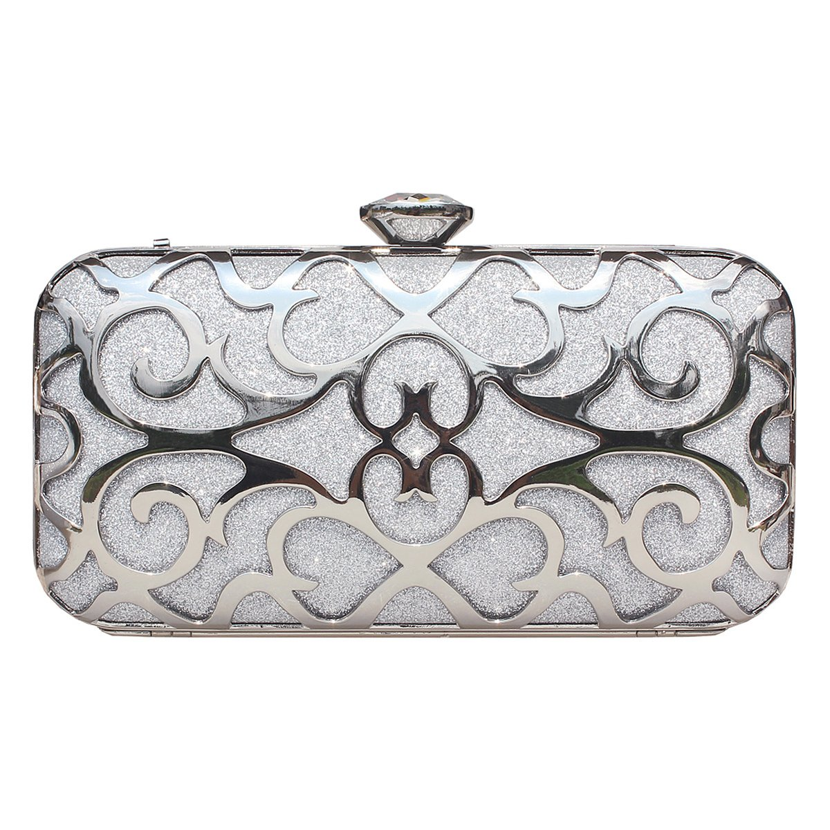 Women Clutches Metallic Evening Bag Handbags Wedding Party Cocktail Purse With Rhinestone Silver.