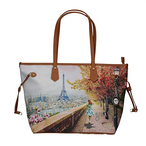 Borsa donna Y Not Parigi Eiffel J-319 Shopping grande  Amazon.it  Scarpe e  borse 91818c17bbb