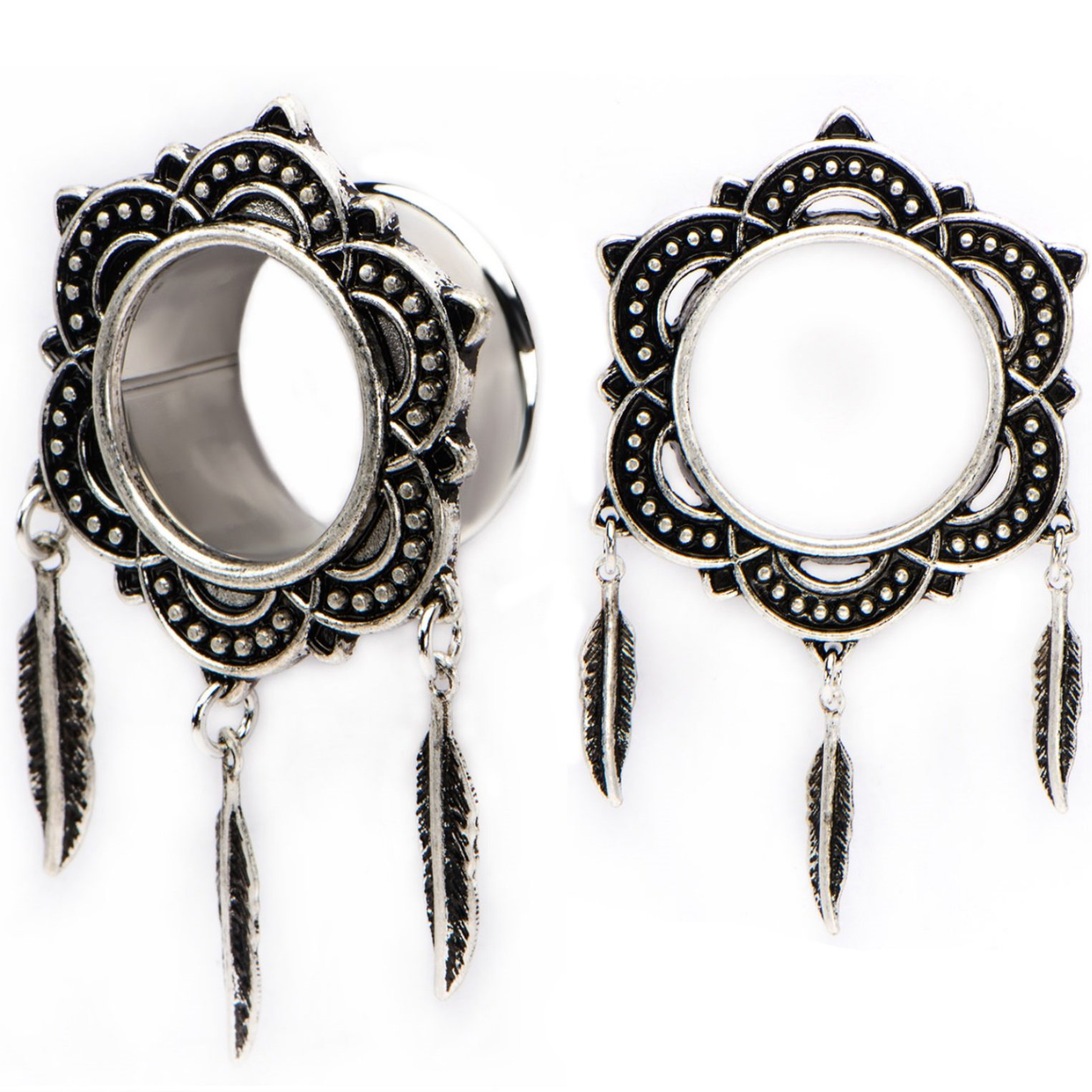Pair of Tribal Floral Rim Triple Feather Dangle Ear Plugs Tunnels Made with Steel & Brass - 3/4 Inch (19mm)