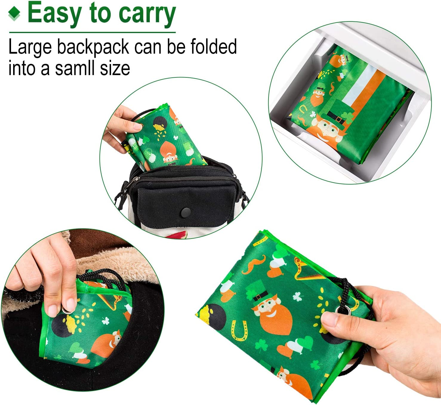 Coin Purse Saint Patricks Day Green Four Leaf Lucky Coin Pouch With Zipper,Make Up Bag,Wallet Bag Change Pouch Key Holder