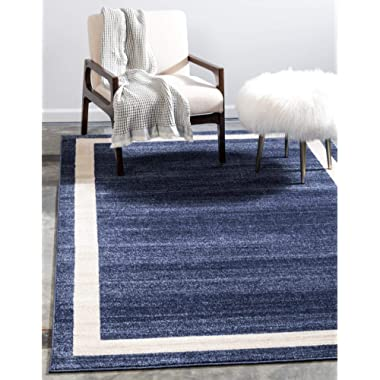 Unique Loom Del Mar Collection Contemporary Transitional Navy Blue Area Rug (8' 0 x 11' 4)