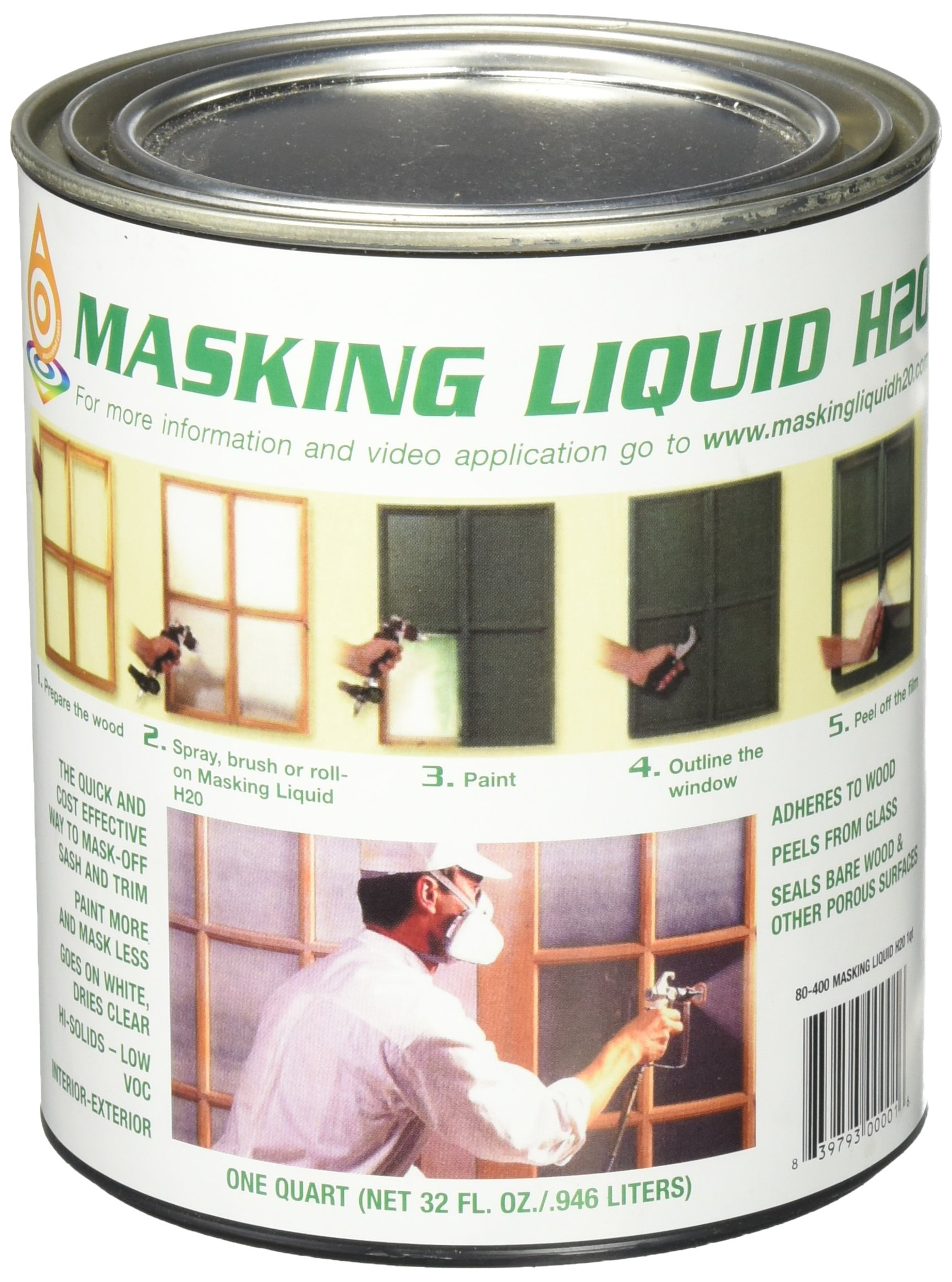 ASSOCIATED PAINT Not Available 157026 80-400-4 H20 Masking Liquid, 1 Quart, Clear