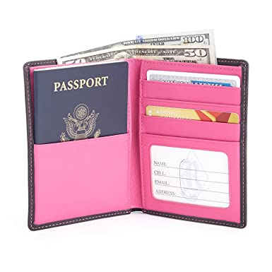 71c7fc1c8e87 Royce Leather RFID Blocking Bifold Passport Currency Travel Wallet in  Genuine Leather
