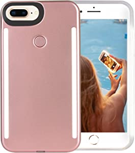 Wellerly iPhone 8 Plus Case, iPhone 7 Plus Case, iPhone 6/6s Plus Case, LED Illuminated Selfie Light Up [Rechargeable] Luminous Flashlight Cellphone Case Cover for iPhone 8/7 / 6/6s Plus -Rose Gold