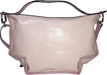 LUPO Barcelona Ladies Bag Snakeskin Print on Light Pink Genuine Calfskin Patent Leather Square Handbag