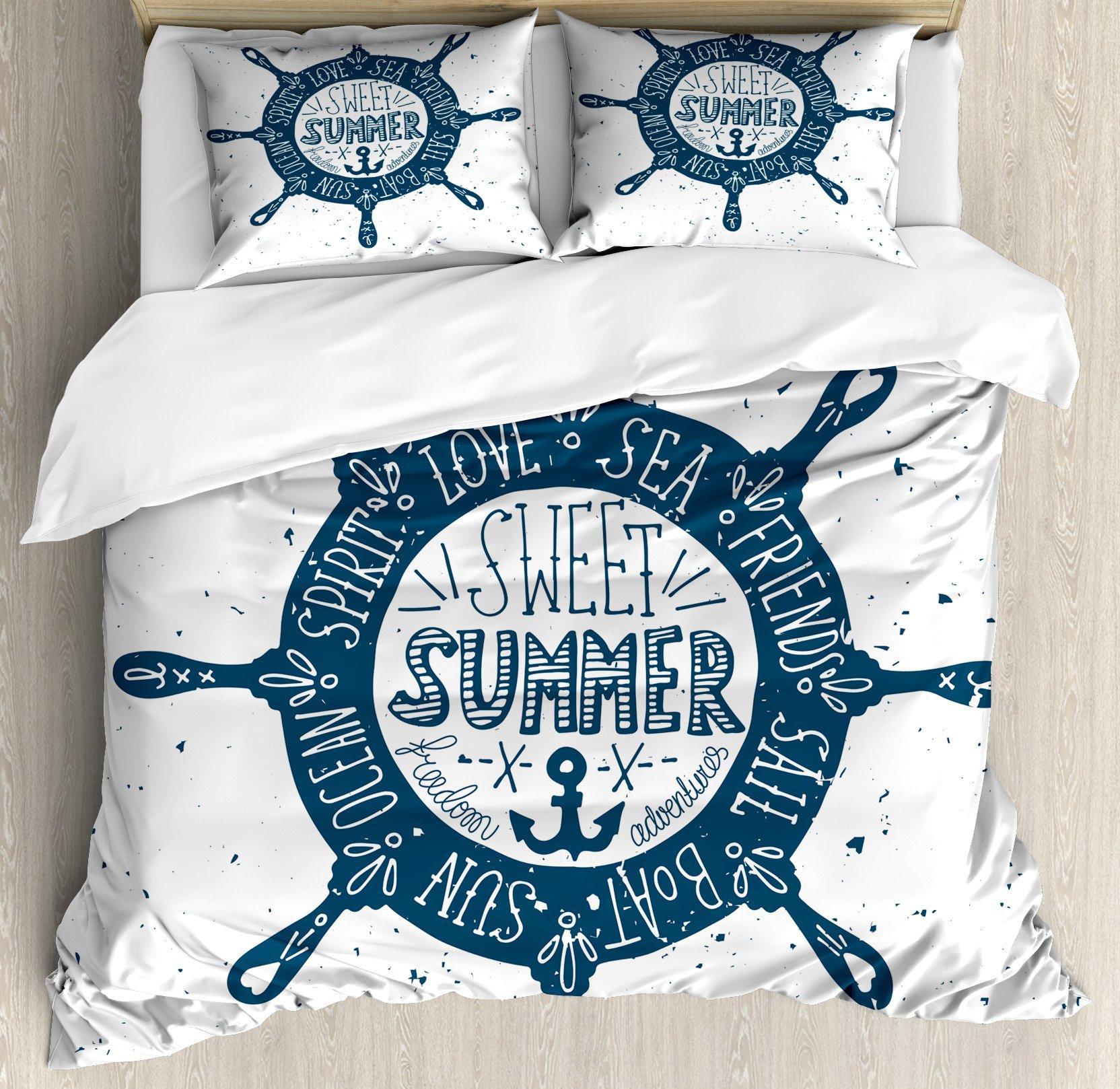 Lunarable Nautical Queen Size Duvet Cover Set, Sweet Summer Message inside Steering Wheel Love Sea Friend Sail Spirit, Decorative 3 Piece Bedding Set with 2 Pillow Shams, Dark Blue and White