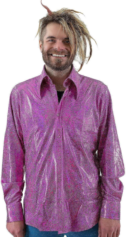 COMYCOM - Camisa con Purpurina, diseño años 70, Color Rosa: Amazon.es: Ropa y accesorios