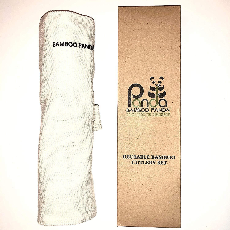 Bamboo Panda - Cubertería de bambú reutilizable, juego de ...