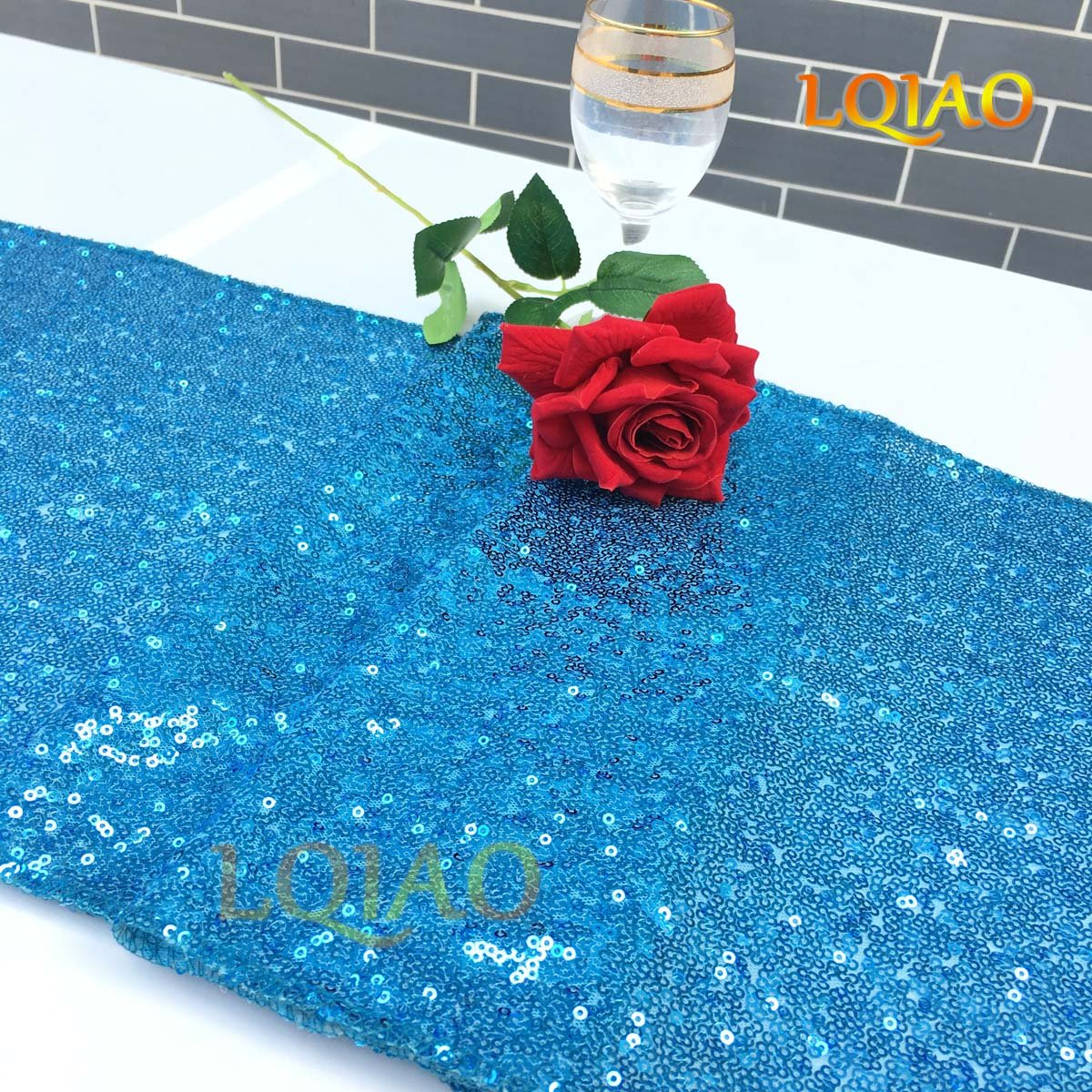 LQIAO Christmas Table Runner Sequin 12x108-in, Turquoise, Shiny Fabric Birthday/Wedding/Party Decoration(wholesale Possible), Pack of 20 PCS