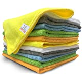 12 Pack Microfiber Cloths 15 x 12 inch Cleaning Supplies [Get Lint-Free Polished Results] Micro Fiber Cleaning Towels, Chemical Free Kitchen Towel, Clean Windows & Cars