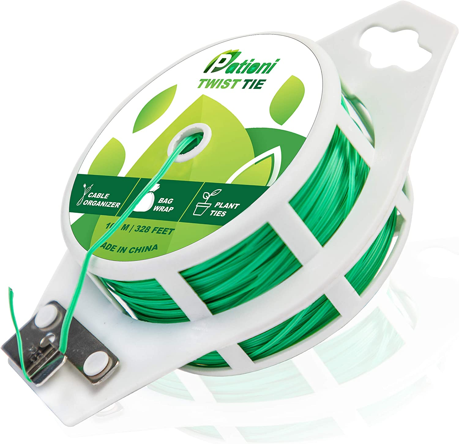 PATIONI Rot-X Plant Twist Ties - Advanced Rot-Free Water Channeling Design Protects Stems & Trunks from Damage - Smooth Rust-Free Weatherproof Green Plant Ties - 328 FT w/Plant Ties with Easy Cutter