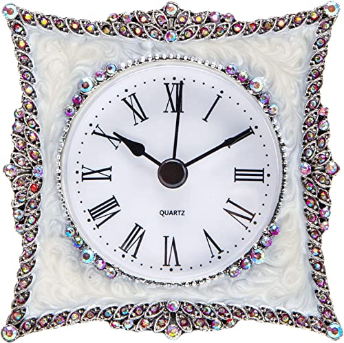 NIKKY HOME Crystal Elegant Small Quartz Analog Table Clock with Rosy Rhinestone 3.5 by 1.5 by 3.5 Inches, White and Pink