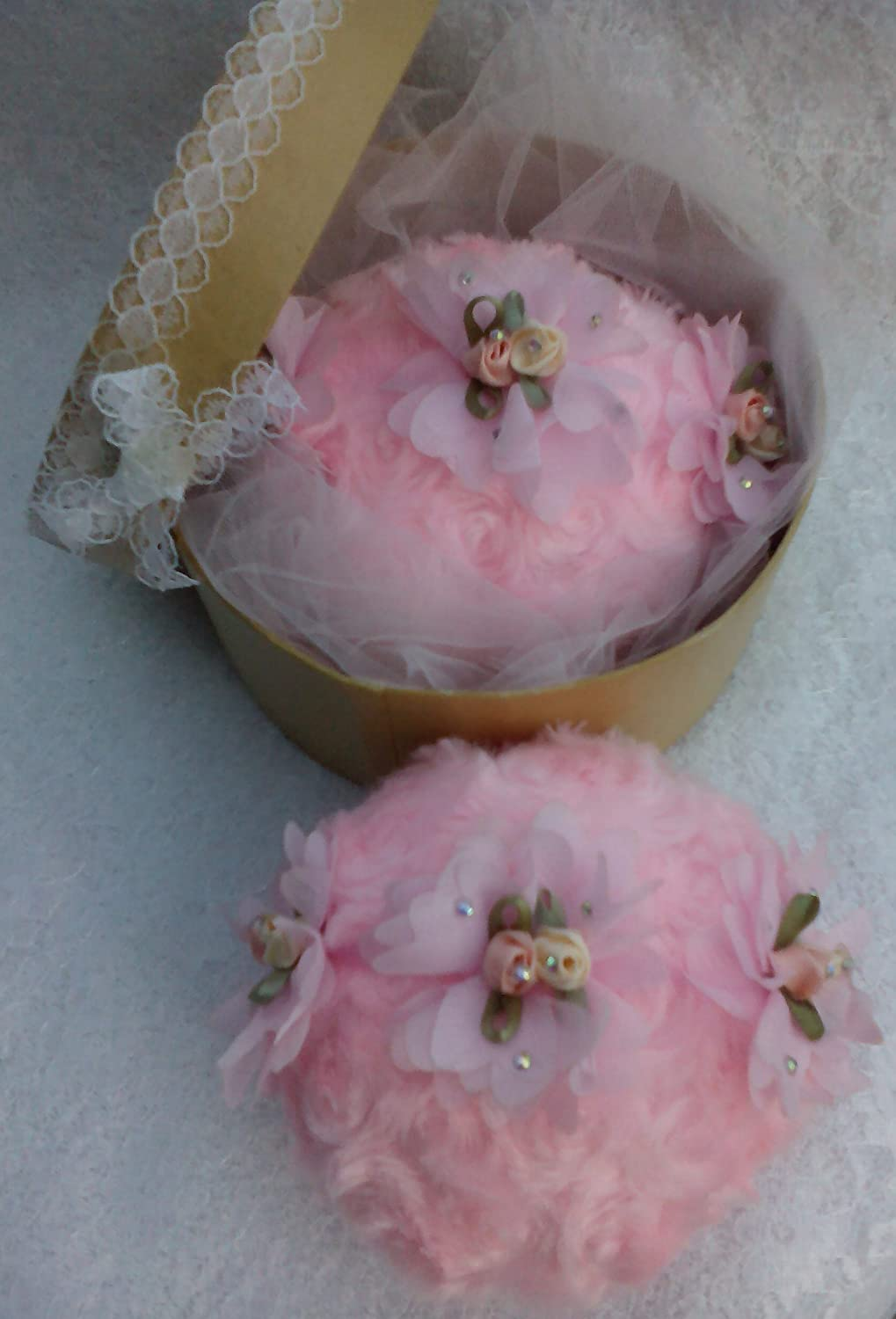 Tilly's Legacy Pink Soft and Fluffy Handmade Powder Puff/Pouf. Lace Ribbon Flower Finger Strap. Gift Boxed. Gift for Her. Vegan Gift